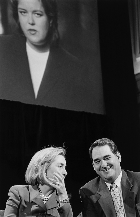 Sen. Hillary Clinton, D-N.Y., and Rep. Billy Tauzin, R-La., at Union Station to watch video of Rose O'Donnell on TV violence on Feb. 27, 1997. (Photo by Laura Patterson/CQ Roll Call)