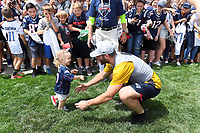 July 26, 2018: New England Patriots wide receiver Julian Edelman (11) is greeted by his 20 month old daughter Lily Edelman at the New England Patriots training camp held on the practice fields at Gillette Stadium, in Foxborough, Massachusetts. Eric Canha/CSM