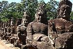 Statues of 54 gods and 54 demons guard the south gate to Angkor Thom, Cambodia. June 7, 2013.