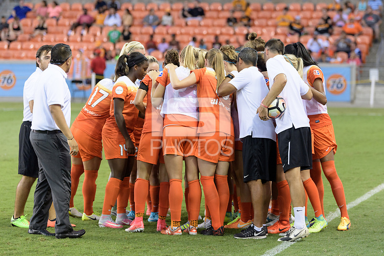 Houston, TX - Wednesday June 28, 2017: Houston Dash huddle prior to a regular season National Women's Soccer League (NWSL) match between the Houston Dash and the Boston Breakers at BBVA Compass Stadium.
