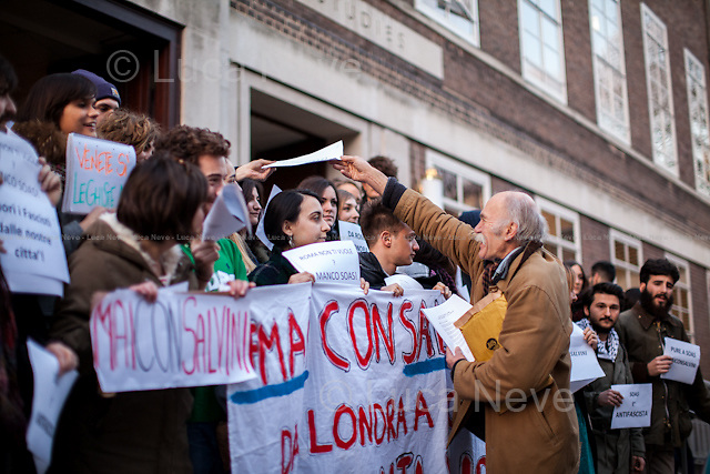 London, 27/02/2015. Today, SOAS (School of Oriental and African Studies) students and activists held a demonstration on the School steps to protest against Matteo Salvini, leader of the Italian right wing party &quot;Lega Nord&quot;, who will march in Rome Saturday 28 February alongside the neo-fascist group Casapound and other Italian and European right wing groups. From the organisers Facebook page: &lt;&lt;Matteo Salvini is an Italian politician. And one of the worst kind. He is currently leading the Lega Nord party, a xenophobe, racist and homophobic right-wing party that is gathering consensus (as these kinda parties do these days... just think of Front National and UKIP). On Saturday 28th, the Lega Nord and Casapound (an overtly neo-fascist group) have called a national demo in Rome. We are calling all SOASians, Italians and non, to join us for a rally on the SOAS steps, to take a picture under the slogan SOASDOESN'TWANTYOUEITHER (in solidarity with the counter-demo organised by roman activists ROMEDOESN'TWANTYOU)&gt;&gt;.<br />