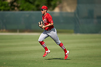 GCL Cardinals outfielder Patrick Romeri (16) during a Gulf Coast League game against the GCL Astros on August 11, 2019 at Roger Dean Stadium Complex in Jupiter, Florida.  GCL Cardinals defeated the GCL Astros 2-1.  (Mike Janes/Four Seam Images)