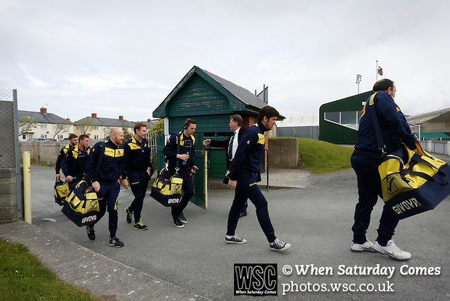 Aberystwyth Town 1 Newtown 2, 17/05/2015. Park Avenue, Europa League Play Off final. The Newtown players arrive at Park Avenue. Aberystwyth finished 14 points above Newtown in the Welsh Premier League, but were beaten 1-2 in the Play Off Final. Photo by Paul Thompson.