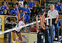 WKU outside hitter Janee' Diggins (23) plays against Florida International in the semi-finals of the Sunbelt Conference Volleyball Tournament.  Western Kentucky won the match 3-0 on November 18, 2011 at Miami, Florida. .