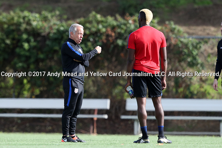 11 January 2017: Assistant coach Dave Sarachan (left) talks with Gyasi Zardes (right). The United States Men's National Team held their first training session under new head coach Bruce Arena on The Murphy Family Field at the StubHub Center in Carson, California.