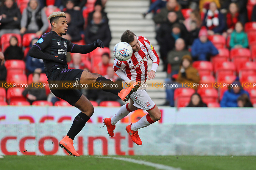 Nick Powell of Stoke City heads for James McClean of Stoke City to score the opening goal during Stoke City vs Charlton Athletic, Sky Bet EFL Championship Football at the bet365 Stadium on 8th February 2020