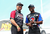 May 31, 2013; Englishtown, NJ, USA: NHRA top fuel dragster driver Shawn Langdon (left) with Antron Brown during qualifying for the Summer Nationals at Raceway Park. Mandatory Credit: Mark J. Rebilas-