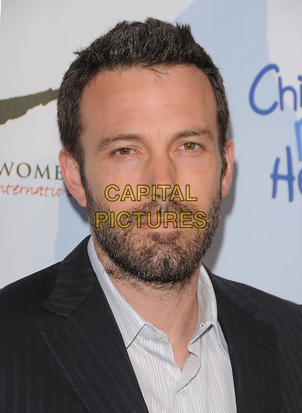 BEN AFFLECK .at the 3rd annual Children Mending Hearts Peace Please Gala held at  The Music Box @ Henry Fonda Theater in Hollywood, California, USA, .April 16th 2010.                                                                   .portrait headshot beard facial hair black white shirt pinstripe striped .CAP/RKE/DVS.©DVS/RockinExposures/Capital Pictures.