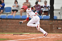 Johnson City Cardinals shortstop Oscar Mercado #4 swings at a pitch during a game against the Bristol Pirates at Howard Johnson Field July 20, 2014 in Johnson City, Tennessee. The Pirates defeated the Cardinals 4-3. (Tony Farlow/Four Seam Images)