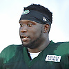 Jarvis Jenkins #98 of the New York Jets speaks to a reporter after a day of team training camp at Atlantic Health Jets Training Center in Florham Park, NJ on Wednesday, Aug. 3, 2016.