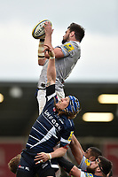 Elliott Stooke of Bath Rugby wins the ball at a lineout. Aviva Premiership match, between Sale Sharks and Bath Rugby on May 6, 2017 at the AJ Bell Stadium in Manchester, England. Photo by: Patrick Khachfe / Onside Images