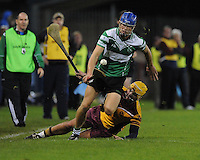 24th October 2013;  Chris Crummey, Lucan Sarsfields, gets away from Darren Kelly, Craobh Chiarain.Dublin County Senior Hurling Championship Semi-Final, Craobh Chiarain v Lucan Sarsfields, Parnell Park, Dublin. Picture credit: Tommy Grealy / actionshots.ie