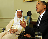 Washington, DC - August 3, 2009 -- United States President Barack Obama meets with with His Highness Shaykh Al-Ahmad Al-Jaber Al Sabah, Amir of the State of Kuwait, in the Oval Office of the White House in Washington on August 3, 2009. .Credit: Roger L. Wollenberg / Pool via CNP