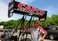 Jun. 2, 2012; Englishtown, NJ, USA: NHRA crew member for top fuel dragster driver Steve Torrence during qualifying for the Supernationals at Raceway Park. Mandatory Credit: Mark J. Rebilas-