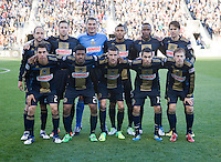 The Philadelphia Union lines up before the game at PPL Park in Chester, PA.  Houston defeated Philadelphia, 2-1, to take home the one goal advantage in the home and home series..