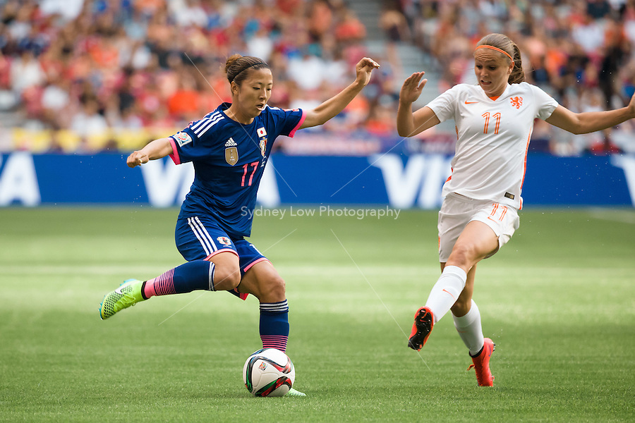 June 23, 2015: Yuki OGIMI of Japan kicks the ball during a round of 16 match between Japan and Netherlands at the FIFA Women's World Cup Canada 2015 at BC Place Stadium on 23 June 2015 in Vancouver, Canada. Japan won 2-1. Sydney Low/AsteriskImages.com