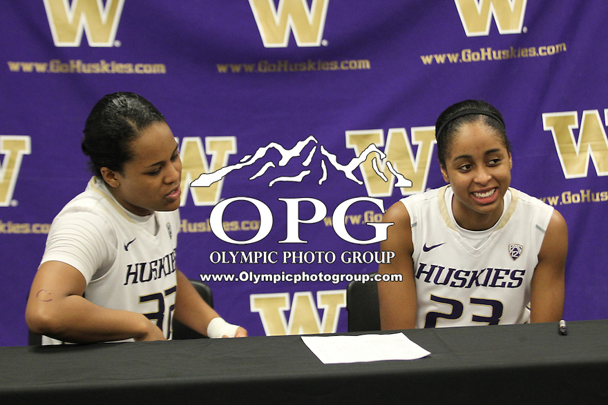 Feb 06, 2015:  Washington's Jazmine Davis and Aminah Williams against Oregon State.  Washington defeated Oregon State 76-67 at Alaska Airlines Arena in Seattle, WA.