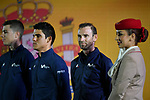 World Champion Alejandro Valverde (ESP) Movistar Team on stage at the inaugural UAE Tour 2019 opening ceremony and team presentation held in the Louvre Abu Dhabi, United Arab Emirates. 23rd February 2019.<br /> Picture: LaPresse/Massimo Paolone  | Cyclefile<br /> <br /> <br /> All photos usage must carry mandatory copyright credit (© Cyclefile | LaPresse/Massimo Paolone)