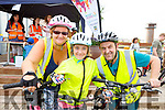 Helen, Saoirse and John Kerins all geared up at the Pedal in the Park in the Tralee Bay Wetlands on Friday