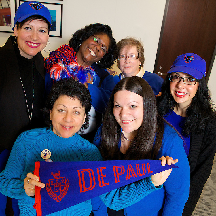 Bringing their blue during Blue Demon Week is staff from the Office of the General Council and Office of the President (L-R) Laura Warren, Jessica Hallam, Phyllis Gregg, Annette Wilson, Anastasia Katinas and Mary Devona February 20, 2014.