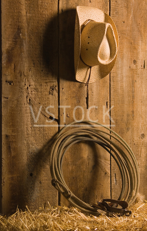 vertical cowboy hat lasso spurs still life rope roping ranch ranching western farm farming lariat bale straw barn