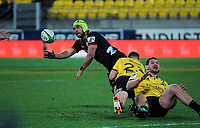 Charlie Ngatai gets his pass away during the Super Rugby quarterfinal match between the Hurricanes and Chiefs at Westpac Stadium in Wellington, New Zealand on Friday, 20 July 2018. Photo: Dave Lintott / lintottphoto.co.nz