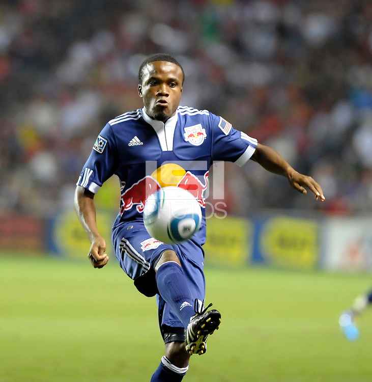 New York midfielder Dane Richards (19) receives the ball.  The Chicago Fire tied the New York Red Bulls 0-0 at Toyota Park in Bridgeview, IL on August 8, 2010