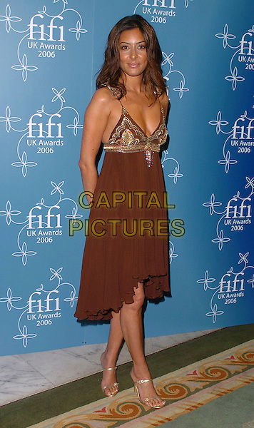 LAILA ROUASS.UK FiFi Awards 2006 Dorchester Hotel, London, UK..March 27th, 2006 .Ref: CAN.full length brown dress.www.capitalpictures.com.sales@capitalpictures.com.©Capital Pictures