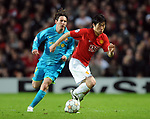 Manchester United's Park Ji-sung gets past Lionel Messi of Barcelona during the Champions League semi-final 2nd leg match at Old Trafford, Manchester. Picture date 29th April 2008. Picture credit should read: Simon Bellis/Sportimage