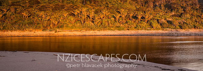 Sunset on beach with Kohaihai River and Nikau palms near Karamea, Kahurangi National Park, Buller Region, West Coast, New Zealand