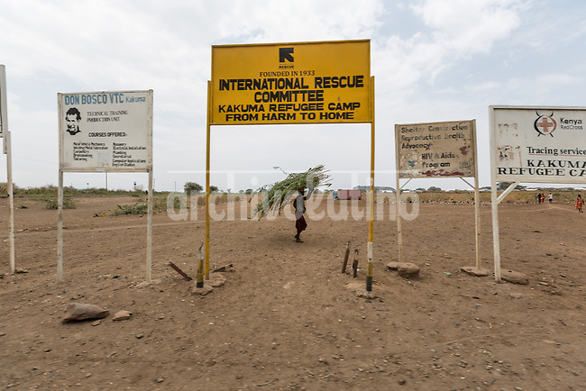 Main entrance to  Kakuma refugee camp in Kenya.Kakuma refugee camp in North of Kenya. Kakuma is the site of a UNHCR refugee camp, established in 1991. The population of Kakuma town was 60,000 in 2014, having grown from around 8,000 in 1990. In 1991, the camp was established to host the 12,000 unaccompanied minors who had fled the war in Sudan and came walking from camps in Ethiopia.