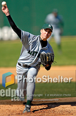24 April 2007: Dartmouth College Big Green pitcher Ben Murray, a Freshman from Grants Pass, OR, on the mound against the University of Vermont Catamounts at Historic Centennial Field, in Burlington, Vermont...Mandatory Photo Credit: Ed Wolfstein Photo