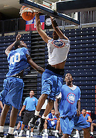 C/F Derrick Favors (Atlanta, GA / South Atlanta) dunks the ball during the NBA Top 100 Camp held Thursday June 21, 2007 at the John Paul Jones arena in Charlottesville, Va. (Photo/Andrew Shurtleff)