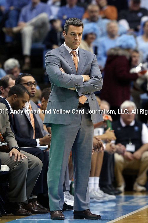 02 February 2015: Virginia head coach Tony Bennett. The University of North Carolina Tar Heels played the University of Virginia Cavaliers in an NCAA Division I Men's basketball game at the Dean E. Smith Center in Chapel Hill, North Carolina. Virginia won the game 75-64.