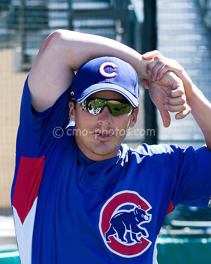Mar 21, 2008; Tucson, AZ, USA;  Chicago Cubs second baseman Ryan Theriot (2) stretches before a game against the Colorado Rockies at Hi Corbett Field.