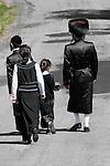 Walking,temple, traditional, dress, hasid jew,road,vertical,backs,fur,hat,