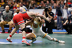 CLEVELAND, OH - MARCH 16: Bryce Meredith, of Wyoming, wrestles Joey McKenna, of Ohio State, in the 141 weight class during the Division I Men's Wrestling Championship held at Quicken Loans Arena on March 16, 2018 in Cleveland, Ohio. (Photo by Jay LaPrete/NCAA Photos via Getty Images)