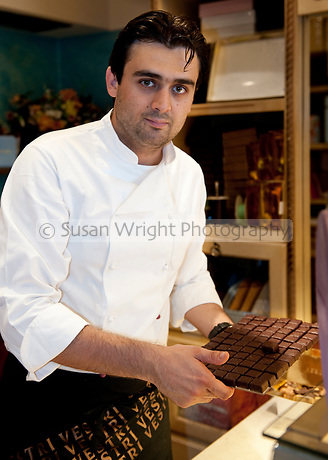 Leonardo Vestri, second generation Chocolatier, at Vestri store, producers of fine quality artisan chocolate and gelato, Florence, Italy