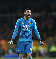 Wolverhampton Wanderers' Rui Patricio celebrates his side's first goal<br /> <br /> Photographer Rob Newell/CameraSport<br /> <br /> The Premier League - Wolverhampton Wanderers v West Ham United - Tuesday 29th January 2019 - Molineux - Wolverhampton<br /> <br /> World Copyright © 2019 CameraSport. All rights reserved. 43 Linden Ave. Countesthorpe. Leicester. England. LE8 5PG - Tel: +44 (0) 116 277 4147 - admin@camerasport.com - www.camerasport.com