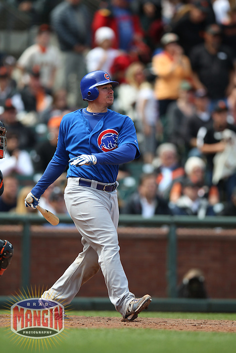 SAN FRANCISCO, CA - JUNE 4:  Steve Clevenger #51 of the Chicago Cubs bats against the San Francisco Giants during the game at AT&T Park on Monday, June 4, 2012 in San Francisco, California. Photo by Brad Mangin