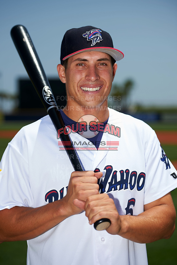 Pensacola Blue Wahoos third baseman Seth Mejias-Brean (5) poses for a photo before a double header against the Biloxi Shuckers on April 26, 2015 at Pensacola Bayfront Stadium in Pensacola, Florida.  (Mike Janes/Four Seam Images)
