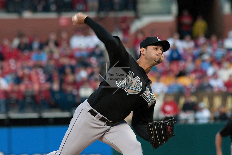 03 May 2011                              Florida Marlins starting pitcher Anibal Sanchez (19). The St. Louis Cardinals hosted the Florida Marlins on Tuesday May 3, 2011 in the second game of a four-game series at Busch Stadium in downtown St. Louis.