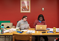 Anna Vinella-Brusher '22, left, and Shweta Ashokraj '22 study for their DWA final, their last final for this semester.<br />