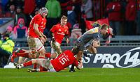 29th February 2020; Thomond Park, Limerick, Munster, Ireland; Guinness Pro 14 Rugby, Munster versus Scarlets; Jonathan Evans of Scarlets gets past Mike Haley of Munster tackle