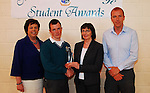 Sancta Maria College's Student Awards,.Kevin Gibbons was presented Student of the Year  award from Maura Harrison from Bank of Ireland  Pauline Moran School principal and Teacher Michael Davitt...Pic Conor McKeown