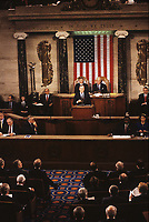 Washington DC., USA, January 31,1990<br /> President George H.W. Bush delivers his State of the Union Address to the 101st Congress. President Bush spoke of the changes in the world in the last year: the resonation of democracy to Panama, the freeing of Poland and Czechoslvakia from Communist control, and the fall of the Berlin wall. He Also talked about proposed education policy and about the U.S. economy and taxes. Credit: Mark Reinstein/MediaPunch