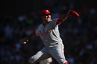 SAN FRANCISCO, CA - AUGUST 11:  Blake Parker #53 of the Philadelphia Phillies pitches against the San Francisco Giants during the game at Oracle Park on Sunday, August 11, 2019 in San Francisco, California. (Photo by Brad Mangin)