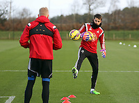Pictured L-R: Goalkeepers David Cornel and Lukasz Fabianski Wednesday 10 December 2014<br />