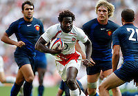 Photo: Richard Lane/Richard Lane Photography..England v France. Rugby World Cup 2007 Warm-up Match. 11/08/2007. .England's Paul Sackey attacks.