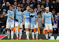 Manchester City's Leroy Sane (left) is embraced by team-mate Raheem Sterling after scoring his sides third goal<br /> <br /> Photographer Rich Linley/CameraSport<br /> <br /> UEFA Champions League Round of 16 Second Leg - Manchester City v FC Schalke 04 - Tuesday 12th March 2019 - The Etihad - Manchester<br />  <br /> World Copyright © 2018 CameraSport. All rights reserved. 43 Linden Ave. Countesthorpe. Leicester. England. LE8 5PG - Tel: +44 (0) 116 277 4147 - admin@camerasport.com - www.camerasport.com